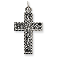Sterling Silver Antiqued Thorn Cross Charm
