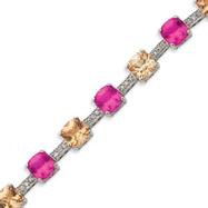 Sterling Silver Champagne & Dark Pink CZ Bracelet