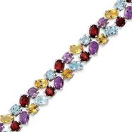 Sterling Silver Rainbow Semi-Precious Bracelet