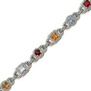 Sterling Silver Rainbow Semi-Precious & CZ Bracelet