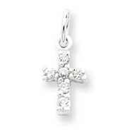 Sterling Silver Cubic Zirconia Cross Charm