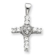 Sterling Silver Cubic Zirconia Heart Cross Pendant