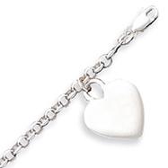Sterling Silver Heart Charm Childs Bracelet