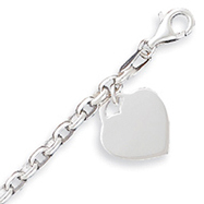 Sterling Silver 1.9mm Heart Charm Bracelet