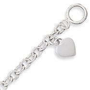 Sterling Silver Dangling Heart Charm Bracelet