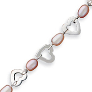 Sterling Silver Pink Pearls And Heart Bracelet