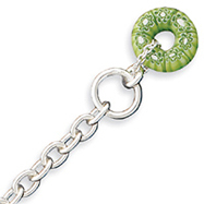 Sterling Silver Green Bead Charm Bracelet