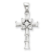Sterling Silver Cubic Zirconia Latin Cross Pendant