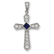 Sterling Silver Cubic Zirconia Passion Cross Pendant