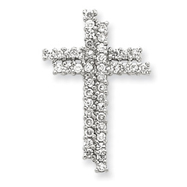Sterling Silver Cubic Zirconia Latin Cross Slide