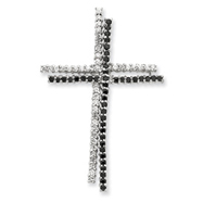 Sterling Silver Black & Clear Cubic Zirconia Cross Pendant