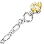 Sterling Silver Yellow CZ Heart Bracelet