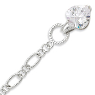 Sterling Silver Dangling CZ Heart Bracelet