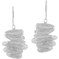 Sterling Silver Tree Bark Dangle Earrings