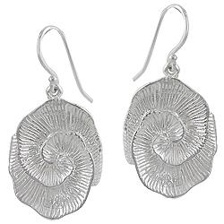 Sterling Silver Rose Flower Dangle Earrings