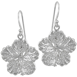 Sterling Silver Flower Dangle Earrings