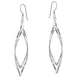 Sterling Silver Twisted Hammered Double Oval Dangle Earrings
