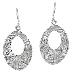 Sterling Silver Wrinkled Finish Open Oval Dangle Earrings