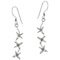 Sterling Silver Flowering Vine Dangle Earrings