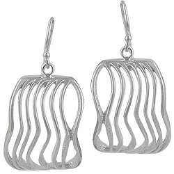 Sterling Silver Wavy Lines Rectangular Earrings