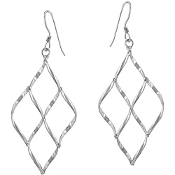 Sterling Silver Twisted Wire Diamond Shaped Dangle Earrings