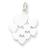 Sterling Silver Heart Cluster Charm