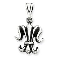 Sterling Silver Antiqued Fleur De Lis Pendant