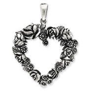 Sterling Silver Antiqued Heart Of Roses