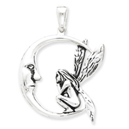 Sterling Silver Antiqued Moon/Fairy Pendant