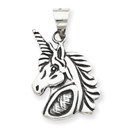 Sterling Silver Antiqued Unicorn Head Charm
