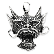 Sterling Silver Antiqued Dragon Head Pendant