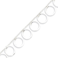 Sterling Silver Dangle Circles Anklet