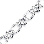 Sterling Silver 7.75inch Polished Fancy Link Bracelet