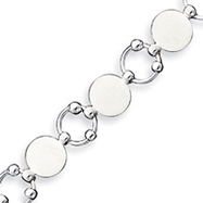 Sterling Silver 7.5inch Polished Fancy Circular Link Bracelet