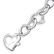 Sterling Silver Polished 3-D Heart Link Bracelet