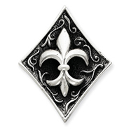 Sterling Silver Antiqued Diamond Shape With Fleur De Lis Pendant