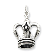 Sterling Silver Antiqued Crown Pendant