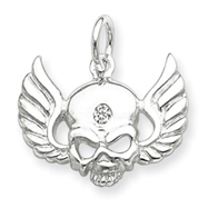 Sterling Silver Cubic Zirconia Skull with Wings Charm