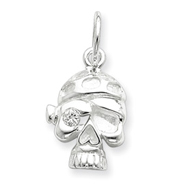 Sterling Silver Cubic Zirconia Skull Charm