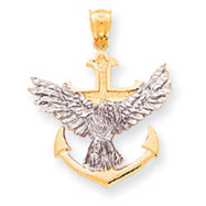 14K Two-Tone Mariners Cross With Eagle Pendant