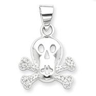 Sterling Silver Cubic Zirconia Skull & Crossbones Pendan