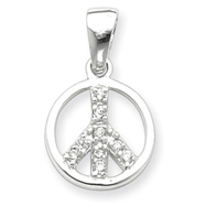 Sterling Silver Cubic Zirconia Peace Sign Pendant