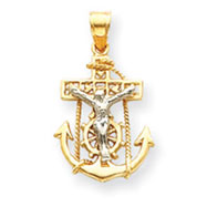 14K Gold Two-Tone Mariners Cross Pendant