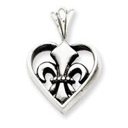 Sterling Silver Fleur De Lis In Heart Pendant