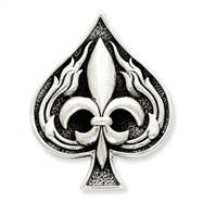Sterling Silver Antiqued Spade With Fleur De Lis Pendant