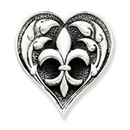 Sterling Silver Antiqued Heart With Fleur De Lis Pendant