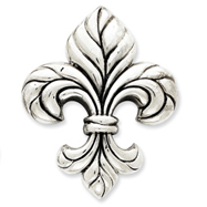 Sterling Silver Antiqued Fluer De Lis Pendant
