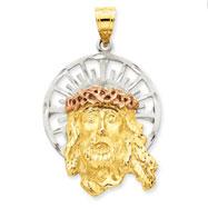 14K Gold Tri Color Jesus Pendant