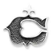 Sterling Silver Antiqued Gothic Initial C Pendant