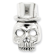 Sterling Silver Skull With Top Hat Pendant